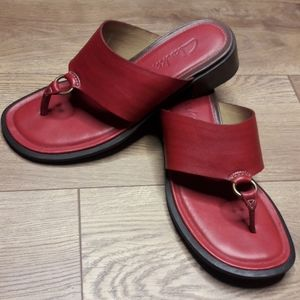 Clarks Red Leather Sandal